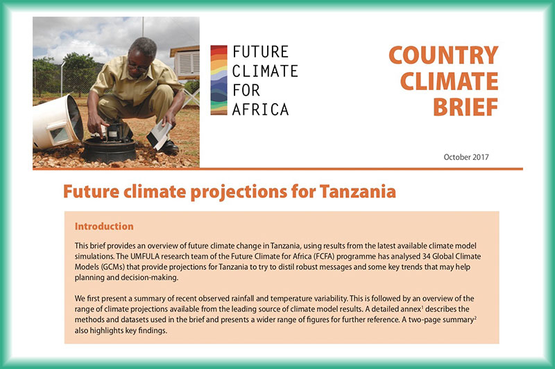 Future Climate for Africa – Tanzania Climate Brief