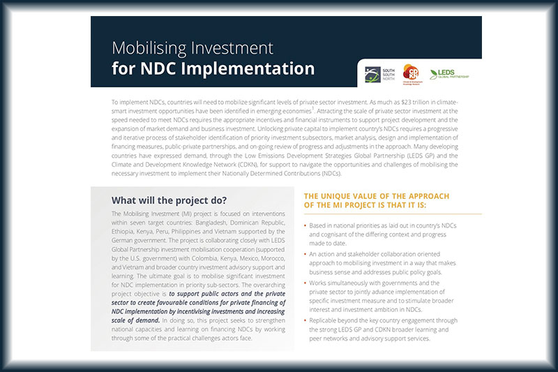 Mobilising Investment for NDC Implementation Factsheet