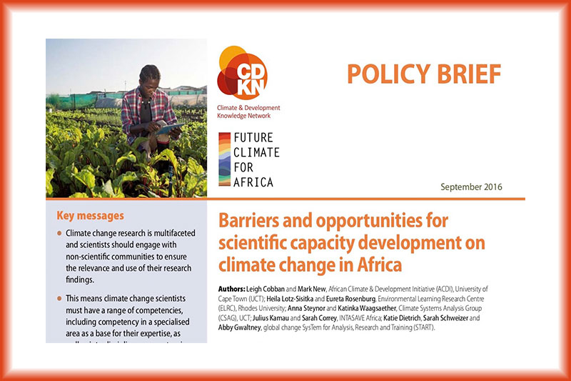 Barriers and opportunities for scientific capacity development on climate change in Africa