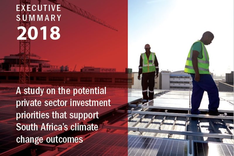A study on the potential private sector investment priorities that support South Africa's climate change outcomes